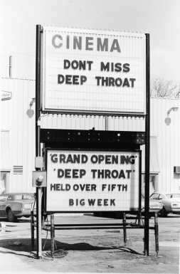 A theater marquee advertises the film 'Deep Throat', starring Linda Lovelace (1949 - 2002), directed by Gerard Damiano, 1972. (Photo by Arnie Sachs/CNP/Getty Images)