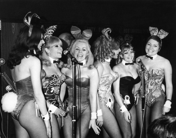 The 'Singing Bunnies' - Bunny Girl waitresses at the London Playboy Club - perform a song during the club's 'Showtime In The Playroom' spot, circa 1972. The group have recorded an album and are, left to right: Elaine Tulley, Heather Colne, Rosemary Lamb, Julie Ann Smith, Jo Anne Wigley and Karen Parkinson. (Photo by Keystone/Hulton Archive/Getty Images)